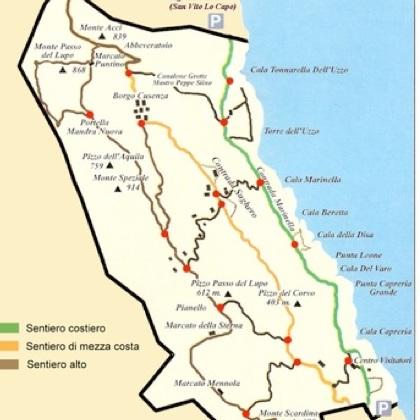 natural reserve zingaro map