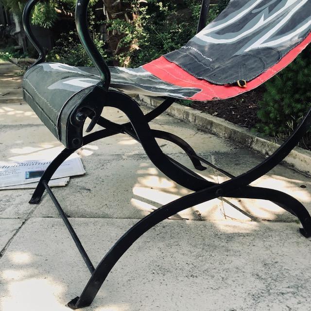 jak wykorzystać stary latawiec, krzesło z latawca, recycling kitesurfingowy